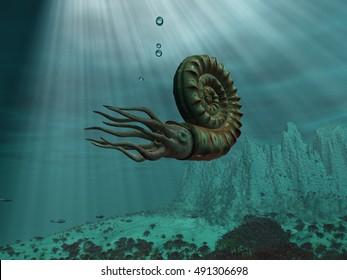 3d illustration of an ammonite at sea