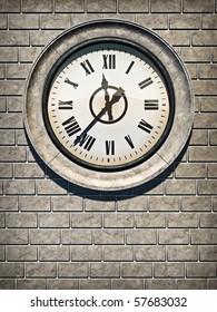 3D illustration of antique clock on brick wall.