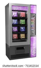 3d illustration. 3D App Vending Machine. Isolated white background.