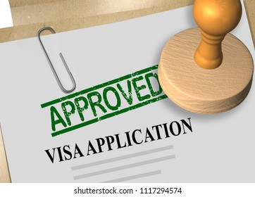 3D illustration of APPROVED stamp title on visa application form