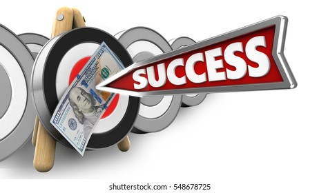 3d illustration of archery target stand with success arrow and 100 dollars over white with targets background