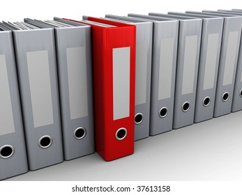 3d illustration of archive folders row with one selected