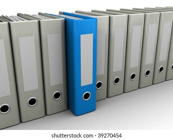 3d illustration of archive folders row with one blue selected