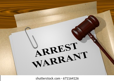 "3D illustration of ""ARREST WARRANT"" title on legal document"