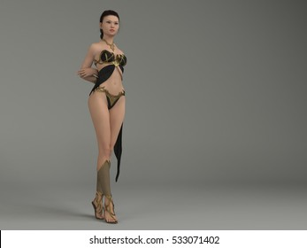 3d illustration of the Asian girl in fantasy black and gold outfit