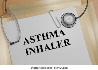 """3D illustration of """"ASTHMA INHALER"""" title on a medical document"""