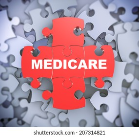3d illustration of attached jigsaw puzzle pieces word medicare presentation on background of heap of puzzle pieces