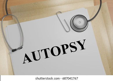 """3D illustration of """"AUTOPSY"""" title on a medical document"""