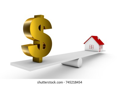 3d illustration balance of house and currency sign dollar