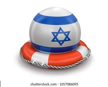 3d illustration. Ball with Israeli flag on lifebuoy. Image with clipping path