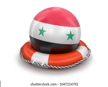 3d illustration. Ball with Syrian flag on lifebuoy. Image with clipping path