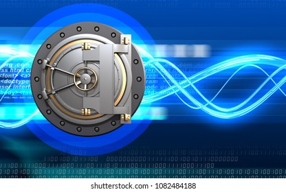 3d illustration of bank door  over digital waves background