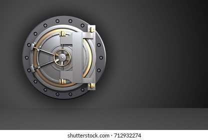 3d illustration of bank door  over black background