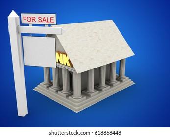 3d illustration of Bank over blue background with sale sign