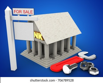 3d illustration of Bank over blue background with wrench and sale sign