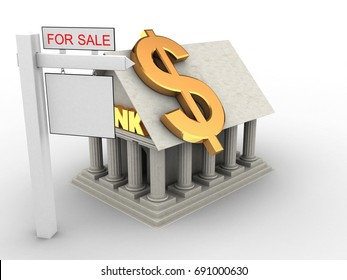 3d illustration of Bank over white background with dollar sign and sale sign