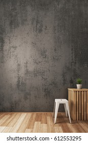 3D illustration : Bare cement wall With modern chair.
