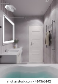 3D illustration of a bathroom in a modern classical style.
