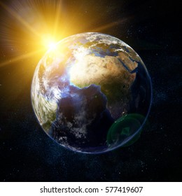 3D illustration of beautiful earth in space, with flush of sun and stars. Some elements of this image furnished by NASA