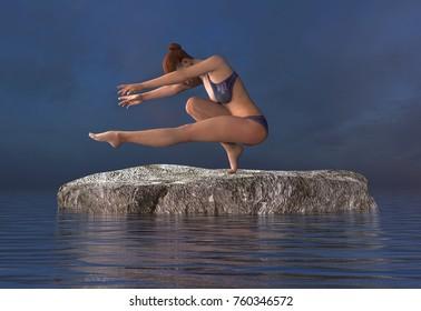 3d illustration beautiful girl doing yoga at sea