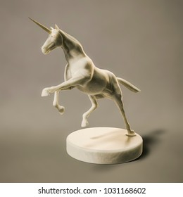 3d illustration of a beautyful marble unicorn figure