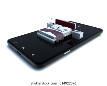 3D illustration of bed on a mobile device representing  online accommodation booking
