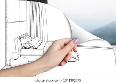 3d illustration. A bedroom renovation concept