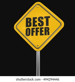 3D Illustration. Best offer road sign. Image with clipping path