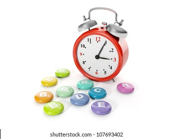 3d illustration: A big red alarm clock with a group of vitamins. Time of drug administration