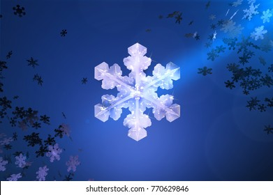 3D illustration of big snowflake on blue background