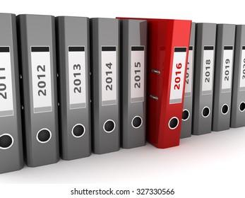 3d illustration of binder folders with 2016 year folder selected