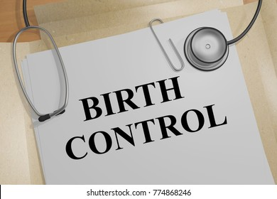 """3D illustration of """"BIRTH CONTROL"""" title on a medical document"""