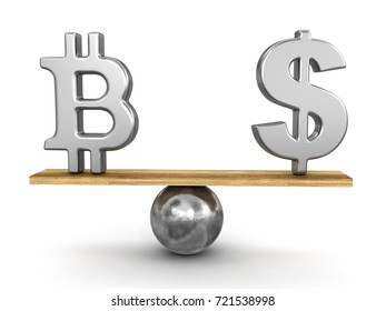 3d Illustration. Bitcoin and dollar sign balanced on plank. Image with clipping path
