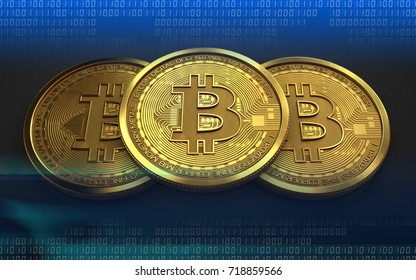 3d illustration of bitcoin over black background with stack