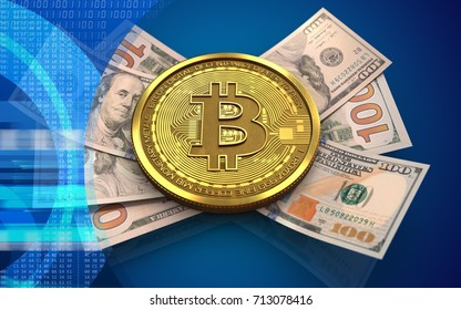 3d illustration of bitcoin over blue background with banknotes