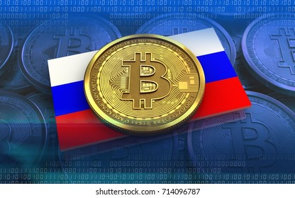 3d illustration of bitcoin over blue coins background with Russia flag