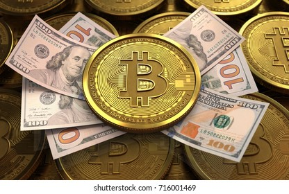 3d illustration of bitcoin over coins stacks background with banknotes
