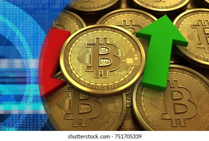 3d illustration of bitcoin over coins stacks background with up and down arrows