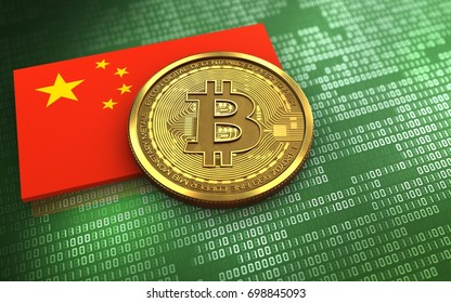 3d illustration of bitcoin over green binary background with china flag