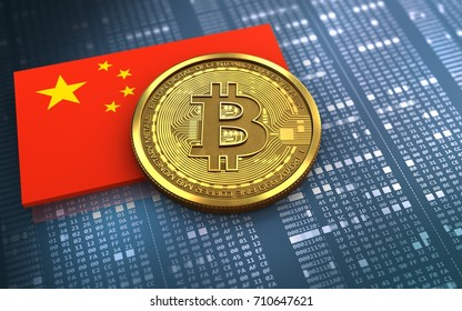3d illustration of bitcoin over hexadecimal background with china flag