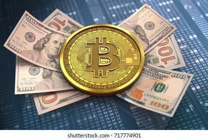 3d illustration of bitcoin over hexadecimal background with banknotes