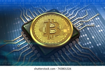 3d illustration of bitcoin over hexadecimal background with computer chip