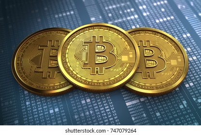 3d illustration of bitcoin over hexadecimal background with stack