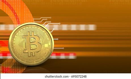 3d illustration of bitcoin over orange cyber background