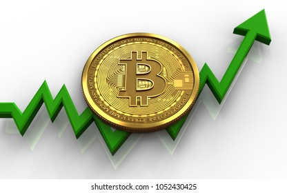 3d illustration of bitcoin over white background with