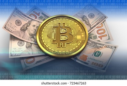 3d illustration of bitcoin over white background with banknotes