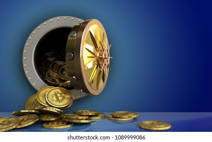 3d illustration of bitcoins heap storage over blue background