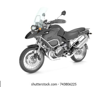 3d illustration of a black classic motorcycle isolated on white background.
