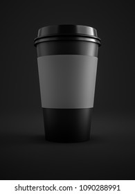 3d illustration of a black coffee to go cup isolated on black background