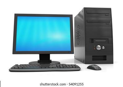 3d illustration of black desktop computer over white background